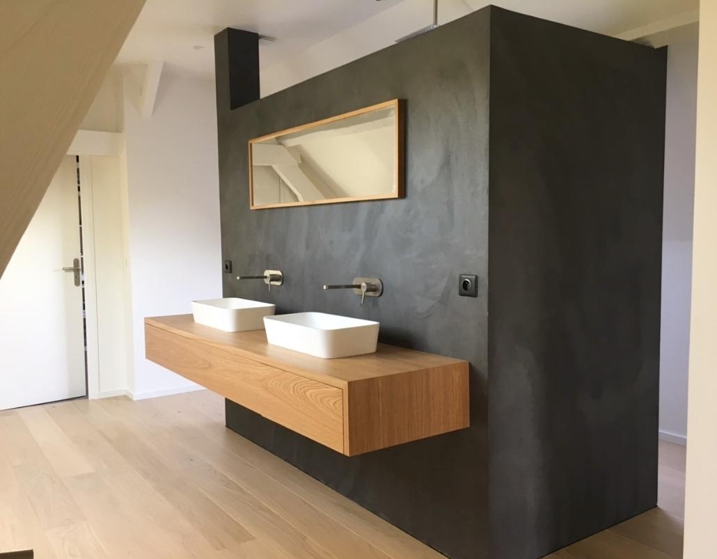 meuble salle de bain teck sur mesure
